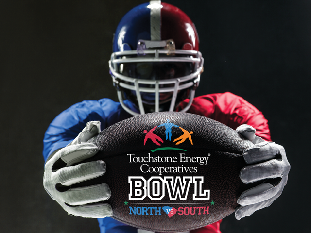 Touchstone Energy bowl player and football